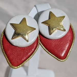 Vintage Red & White Faux Leather Clip Earrings